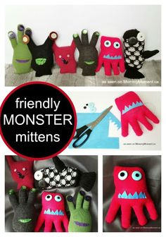 A Friendly Mitten Monsters Craft. The kids had names like Mitten Monsters Glove Buddies Mitten Stuffies and Monster Stuffies whatever you call them they are easy and affordable to make and result in hours of fun for your kids over the long winter months. Crafts For Teens To Make, Winter Crafts For Kids, Spring Crafts, Sock Crafts, Fun Crafts, Diy And Crafts, Monster Gloves, Puppets For Kids, Sock Animals