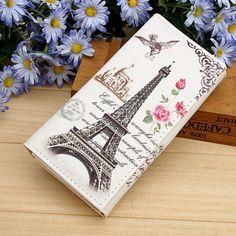 Paris Tower Pattern Women Wallets ID Cards Holder Lady Purses Handbags Coin Purse Long Clutch Moneybags Girls Wallet Burse Bags