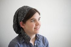 Black Sketch Floral Snood -- Headcovering Hair Prayer Covering Veil