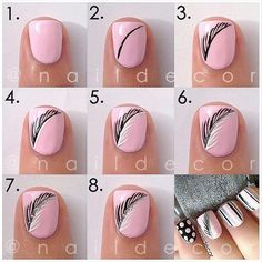 Feather nail art. Really cute and easy.