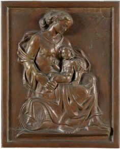Goebel, August Wilhelm 1883 Wiesbaden - nach 1951 Düsseldorf Muttergottes mit Kind. Bronzerelief.