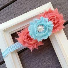 Use this site for baby head sizes if make headband.  Coral and Aqua Headband, Baby Headband, Flower Headband, Shabby Headband, Pearl Rhinestone, Toddler Headband, Aqua Chevron, Photo Prop