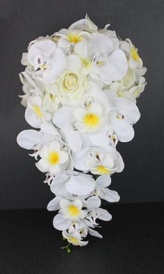 A Casacading White Orchid Bouquet Collection Artificial Wedding Bouquets, White Wedding Bouquets, Bride Bouquets, Wedding Flowers, White Orchid Bouquet, White Orchids, Cascade Bouquet, Bouquet Toss, Wedding Designs