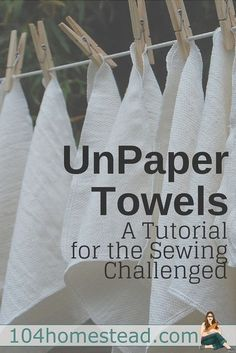 Learn how to make your own unpaper towels, even if you have limited sewing abilities. This tutorial for DIY unpaper towels doesn't even require sewing in a straight line! paper towels reusable Unpaper Towels: The Green Alternative to Paper Towels Sewing Hacks, Sewing Tutorials, Sewing Crafts, Sewing Patterns, Sewing Tips, Fabric Crafts, Sewing Ideas, Knitting Patterns, Diy Crafts