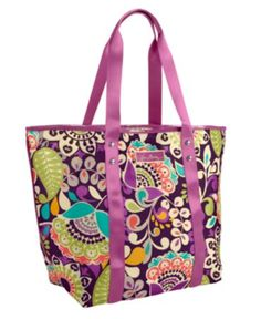 I can pack the Large Mesh Tote in Plum Crazy from Vera Bradley, $49, at the beginning of the day and have everything I need.