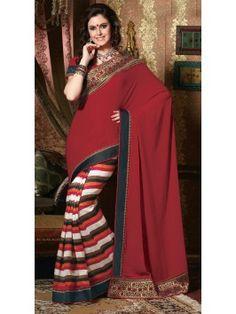 Maroon Pashmina Silk Saree With Sequins Work