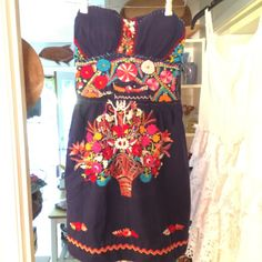 Upcycled old mexican embroidered dress corset by BaysideStudios