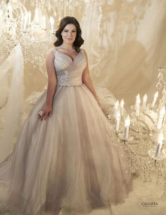 This v-neck ball #wedding #gown from Callista is a princess bride's dream dress - plus the colour is so unique - Style Lorenzo by Callista