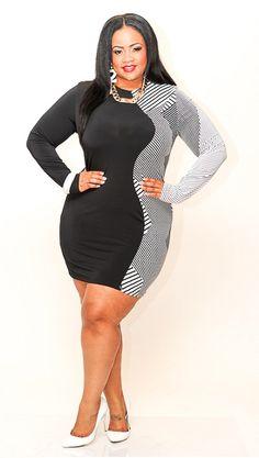 New Plus Size Black & White Mixed Print BodyCon Dress 1X 2X 3X