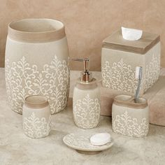 Pick out bath accessories and ensembles with unique designs. Shop black-and-white bathroom decor, seashell wastebaskets, marble-look soap dispensers, and more. Rental Bathroom, Bathroom Red, Bathroom Faucets, Small Bathroom, Master Bathroom, Bathroom Canvas, Bathrooms, Bathroom Accessories, Home Accessories