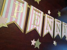 Bandera de rosa y oro Twinkle Twinkle poco Banner estrella