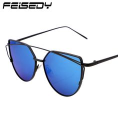 a299c3a6c FEISEDY Fashion Vintage Mirror Sunglasses Women Metal Reflective Cat Eye Sun  Glasses For Women Brand Design-in Sunglasses from Women's Clothing ...