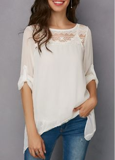 Solid Camisole and Lace Panel Asymmetric Hem Blouse