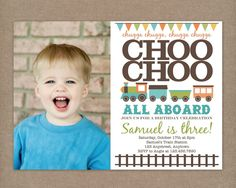 Custom Printable Choo Choo Train Birthday Party Invitation with photo. $12.00, via Etsy.