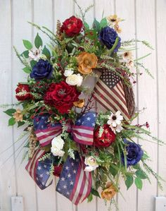 4th of July Wreath-Patriotic Wreath-Armed Forces-Veterans Day-Military Wreath-Spring Summer Wreath-Vintage look-Tea Stained Flag