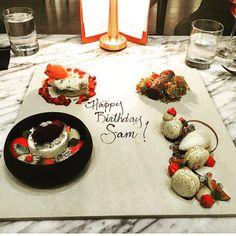 Third course: the most #beautiful #desserts we've ever seen!  #birthday #cambMA #cambridge #kendallsquare #goham #dessert #blueberry #pomegranate #chocolate #cake #pie #macaron #sorbet (photo cred : @samanthf)