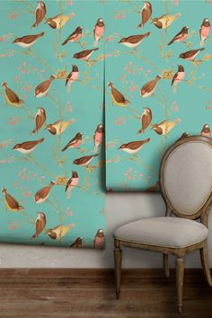 Bird Chinoiserie Peel 'n Stick Wallpaper, Easy to Apply, Perfect for Renters by wallpaperie on Etsy https://www.etsy.com/listing/492816976/bird-chinoiserie-peel-n-stick-wallpaper