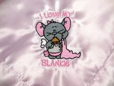 Satin Pink Baby Snuggle Security Blanket Soft I Love My Blankie 18X18