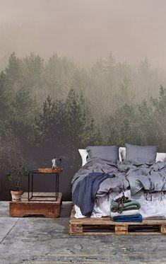 Forest wallpaper for wide open master bedrooms   www.masterbedroomideas.eu    #luxuryfurniture #exclusivedesign #interiodesign #designideas #masterbedroom #masterbedroomideas #wallpaper #wallpaperdesign