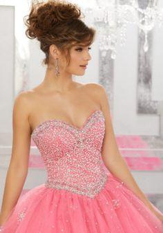 0114bdeea7e Allover Beaded Bodice on a Tulle Ball Gown Over Sparkle Tulle
