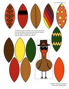 Free Printable Turkey Coloring Page and Craft. also in black and white