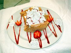 Country House Restaurant's creative Fried Ice Cream dessert includes homemade, deep fried tortilla shell dipped in cinnamon sugar, filled wi. Country House Restaurant, Tortilla Shells, Fried Tortillas, Fried Ice Cream, Dips, Cinnamon, Sugar, Homemade, Fruit