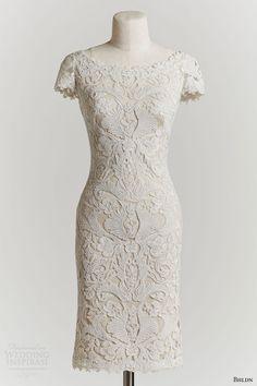 bhldn spring 2015 hadley short sleeve short lace wedding dress