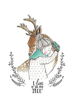 Marieke ten Berge 'Kaart Love You My Deer'