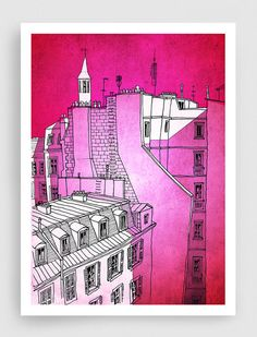 SALE, In an old house in Paris 2.  - Pink - Paris illustration - art print - Paris art illustration - Paris decor - pink art, France, French on Etsy, $20.00