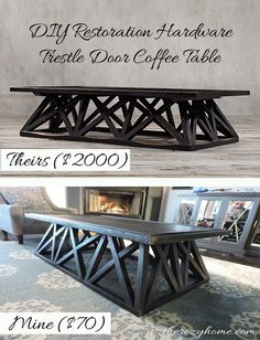 $70 DIY Restoration Hardware Inspired Coffee Table - Have you ever fallen in love with a piece of furniture? For me, it was the amazing Trestle Door Coffee Tabl…
