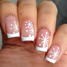 Snowflake nail design.  Love it.