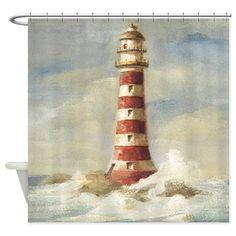 lighthouse shower curtain on