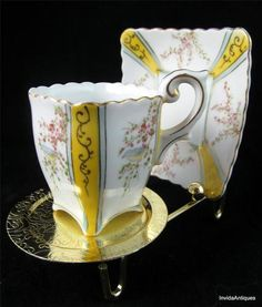 "Hand Painted ""Wales China"" Japan Yellow & Gilt Demitasse Tea Cup & Saucer Set"