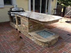 How To Build A Outdoor Kitchen Fascinating Creamy Marble Countertop Of The Outdoor  Kitchen Cabinets And