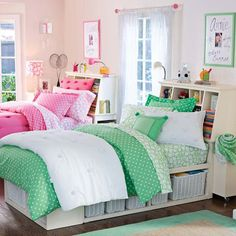 ...decorating a girl's bedroom:  Particularly like the basket storage within the bed frame