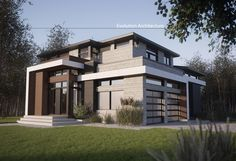 Evolution Architecture, contemporary house, exclusive creation E-877 Evolution Architecture, Modern Residential Architecture, Prairie Style Houses, Mix Use Building, Building Renovation, Archi Design, House Front, My Dream Home, Exterior Design