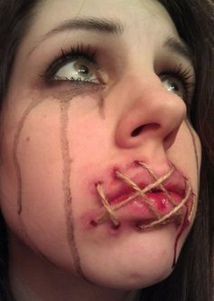 This Girl Wants To Be A Special Effects Makeup Artist (2) - I like the tied lips, but I wonder if I could incorporate it into a fantasy makeup instead of horror.
