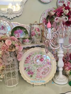 Mosaic Tray, Cake Dome, Broken China, Vintage Shabby Chic, Cottage Chic, Candelabra, Trays, Lazy, Candles