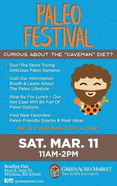 Join GreenAcres Market Bradley Fair for their 1st annual PALEO Festival!   Saturday March 11th 2017 - 11 am-2 pm ~ GreenAcres Market Bradley Fair