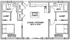 House Layout Design Floor Plans Garage Ideas For 2019 2 Bedroom Floor Plans, Garage Floor Plans, Small House Floor Plans, Barn House Plans, Shed Plans, 2 Bedroom Apartment Floor Plan, Condo Floor Plans, Garage Apartment Plans, Apartment Layout