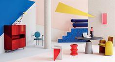 tendance Néo-Memphis : des couleurs pop et un graphisme stylisé. Du bleu, du rouge, du jaune via Goodmoods