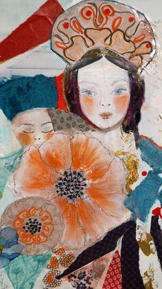 grand tableau art contemporain peinture acrylique les pavots d'Ukraine décoration moderne techniques mixtes collages : Peintures par cyane