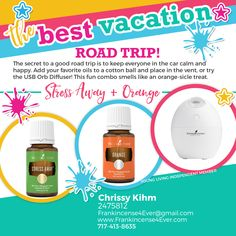 Travel happy by diffusing essential oils. Put a few drops of your favorite oils on a Cotton Ball, Clothes Pin, Travel Fan or Orb Diffuser. / Traveling with Essential Oils, Road Trip, Diffuse Essential Oils in the Car, Frankincense 4 Ever, F4E, Young Living