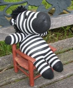 "An adorable sock doll zebra submitted by Nancy O. for Proejct Library. She used the book ""Stray Sock Sewing"" by Dan from the TSCPL collection."