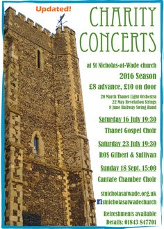 Charity Concerts at St Nicholas-at-Wade church, 2016 - poster