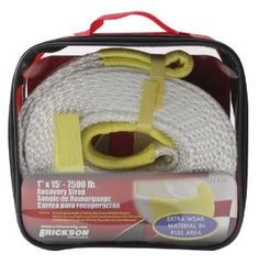"""Erickson 59350 White 1"""" x 15' 7500 lbs Breaking Strength Recovery Strap with 3750 lbs Maximum Vehicle Weight Capacity by Erickson. Save 15 Off!. $17.64. This recovery strap is 1 inches wide and 15 feet long. Premium Recovery Strap manufactured to 7500 pounds breaking strength and 3750 maximum vehicle weight. Erickson recovery straps all feature a sewn end loop with an overlay of high-tenacity nylon to ensure longer life in the pull area, where most of the wear occurs in this type of towing…"""