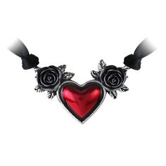 Gothic Ruby Red Heart and Rose Necklace | Skinny Bitch Apparel, Clothing for Urban Trendsetters.
