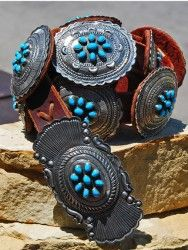 Sterling Silver Concho Belt w/Turquoise Stones