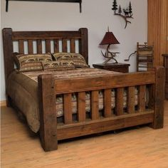 Old Sawmill Timber Frame Barn Wood Bed - Furniture design - Bedroom Furniture Inspiration, Rustic Bedroom Furniture, Pallet Patio Furniture, Rustic Bedding, Pallet Furniture, Bedroom Decor, Furniture Ideas, Cozy Bedroom, Cheap Furniture