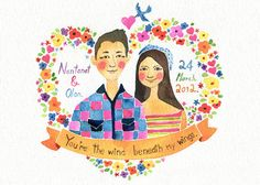 Save the date card illustration invitations by HeartSerene on Etsy, $50.00.